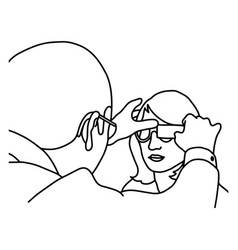 male ophthalmologist examining woman with optical vector image