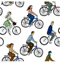 Men and women on bicycles vector