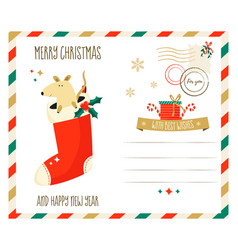 merry christmas greeting postcard with mouse vector image
