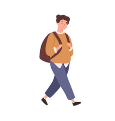 modern schoolboy with backpack go to elementary vector image