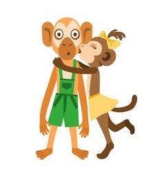 Monkey girl kiss vector