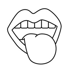 mouth tongue out vintage emblem vector image
