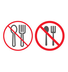 no eating line and glyph icon prohibition vector image