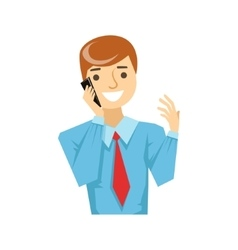 Office Worker Talking About Work On Smartphone vector image