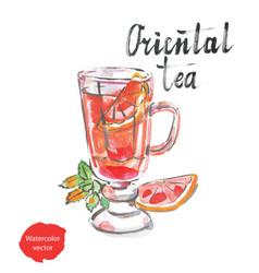 oriental tea watercolor vector image
