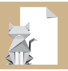 Origami cat with paper note vector