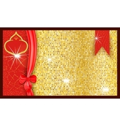Ornate bright festive gift voucher with a golden vector