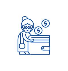 Pension contribution line icon concept pension vector