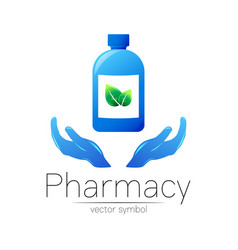 Pharmacy symbol with blue bottle and leaf vector
