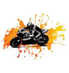 Racing motorcycles with racing motorcyclist vector