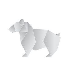 realistic detailed 3d origami paper animal bear vector image