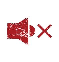 Red grunge no sound logo vector