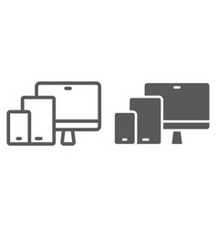 Responsive line and glyph icon computer vector