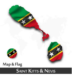 saint kitts and nevis map and flag waving vector image