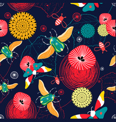 Seamless bright pattern of flying green beetles vector