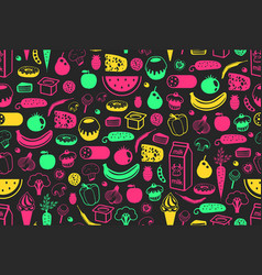 seamless pattern with different food vector image