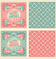 set 2 vintage cards with floral wallpaper vector image