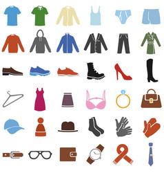 Set color clothes icons vector