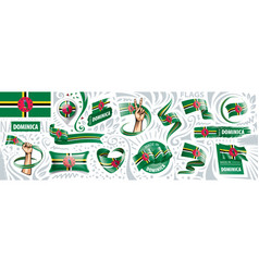 Set national flag dominica in vector