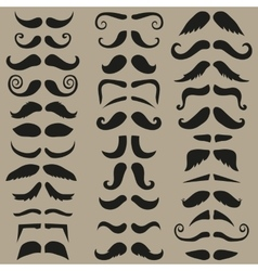 set of hipster mustache Black silhouette vector image