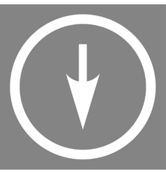 Sharp Down Arrow flat white color rounded vector image