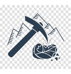 silhouette icon mountain pickaxe vector image