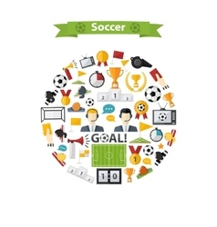 Soccer Icons set in circle vector image