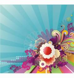 striped background with floral ornament vector image