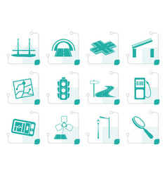 stylized road navigation and travel icons vector image