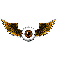 Tattoo design a flying eyeball with wings vector