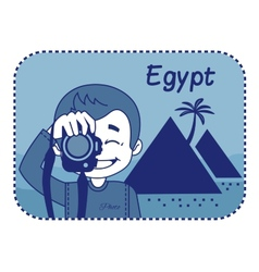 Teaser with photographer travels through Egypt vector