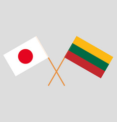 The japanese and lithuanian flags vector