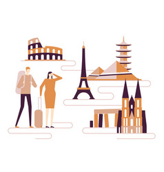 travel around the world - colorful flat design vector image