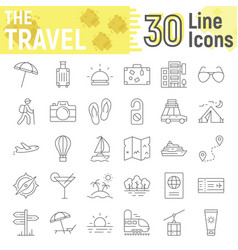 travel thin line icon set tourism symbols vector image