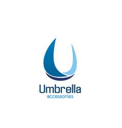 umbrella accessories u letter icon vector image