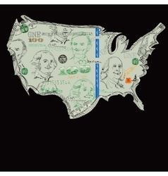 USA Dollars Map vector image