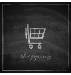 vintage with a shopping cart on blackboard vector image