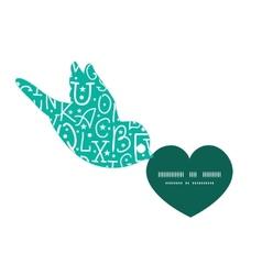 White on green alphabet letters birds holding vector