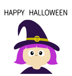 witch girl wearing curl hat happy halloween vector image