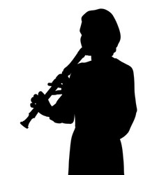 young woman playing recorder flute vector image