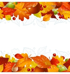 Autumn background with fall leaf vector
