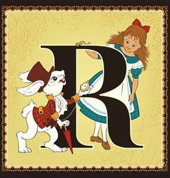 children book cartoon fairytale alphabet letter r vector image