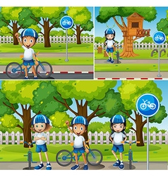 Children riding bicycle in the park vector image vector image