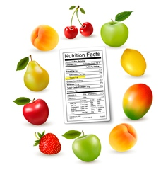Fresh fruit with a nutrition facts label vector image vector image