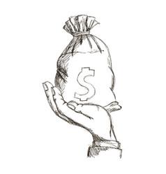Hand holding sack money dollar engraving design vector