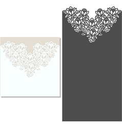 Laser cut envelope template for invitation wedding vector image