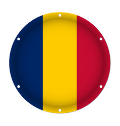 round metallic flag of chad with screw holes vector image vector image