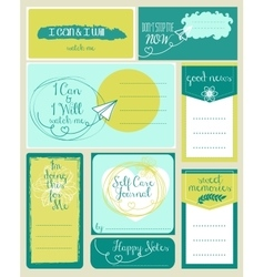 set of journaling card and logotypes for vector image vector image