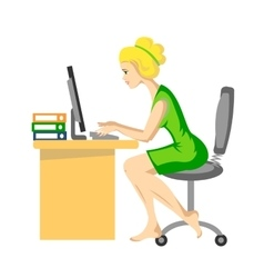 The white-haired girl working vector image vector image