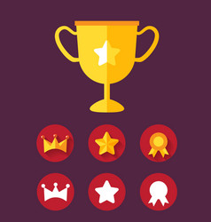 trophy achievement game icon set vector image